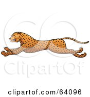 Royalty Free RF Clipart Illustration Of A Running Cheetah In Profile