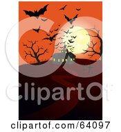Silhouetted Bats And A Full Moon Over A Haunted House On An Orange Night