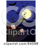 Silhouetted Bats And A Full Moon Over A Haunted House And A Vampire On A Blue Night
