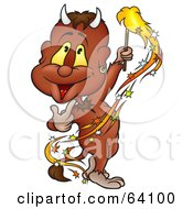 Royalty Free RF Clipart Illustration Of A Happy Devil Waving A Sparkler