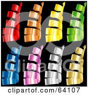 Royalty Free RF Clipart Illustration Of A Digital Collage Of Colorful Curly Confetti Strips On A Black Background Version 2
