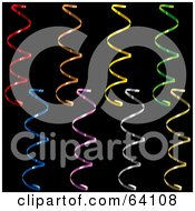 Royalty Free RF Clipart Illustration Of A Digital Collage Of Colorful Curly Confetti Strips On A Black Background Version 3
