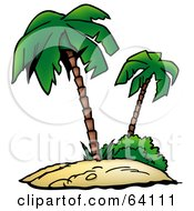 Royalty Free RF Clipart Illustration Of A Tropical Sandy Island With Two Palm Trees