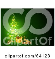 Royalty Free RF Clipart Illustration Of A Starry Magical Christmas Tree With A Gold Present And Ribbons On Green by dero