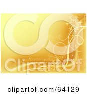 Royalty Free RF Clipart Illustration Of A Golden Snowflake Wave Background