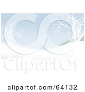 Royalty Free RF Clipart Illustration Of A Pastel Blue Background Of Snowy Hills And Bare Trees