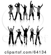 Royalty Free RF Clipart Illustration Of A Digital Collage Of Two Rows Of Silhouetted Dancers Waving Their Arms