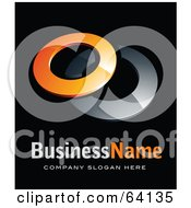 Royalty Free RF Clipart Illustration Of A Pre Made Logo Of Two Orange And Chrome Rings Above Space For A Business Name And Company Slogan On Black