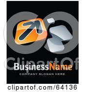 Royalty Free RF Clipart Illustration Of A Pre Made Logo Of An Orange Arrow Plate Above Space For A Business Name And Company Slogan On Black