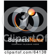 Royalty Free RF Clipart Illustration Of A Pre Made Logo Of A Successful Person Above Space For A Business Name And Company Slogan On Black by beboy