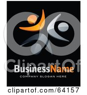 Royalty Free RF Clipart Illustration Of A Pre Made Logo Of Orange And Gray People Above Space For A Business Name And Company Slogan On Black by beboy