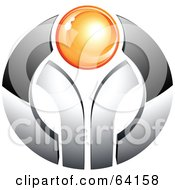 Royalty Free RF Clipart Illustration Of A Pre Made Logo Of An Orange Orb On Chrome by beboy