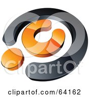 Royalty Free RF Clipart Illustration Of A Pre Made Logo Of An Orange Copyright Symbol by beboy