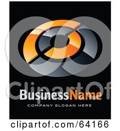 Royalty Free RF Clipart Illustration Of A Pre Made Logo Of An Orange And Black Target Above Space For A Business Name And Company Slogan On Black by beboy