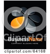 Royalty Free RF Clipart Illustration Of A Pre Made Logo Of An Orange Windmill Or Petals Above Space For A Business Name And Company Slogan On Black by beboy