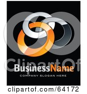 Royalty Free RF Clipart Illustration Of A Pre Made Logo Of Three Orange And Chrome Rings Above Space For A Business Name And Company Slogan On Black by beboy