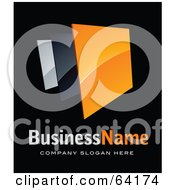 Royalty Free RF Clipart Illustration Of A Pre Made Logo Of An Orange Box Above Space For A Business Name And Company Slogan On Black by beboy