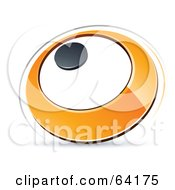 Royalty Free RF Clipart Illustration Of A Pre Made Logo Of An Orange Circle With A Black Dot