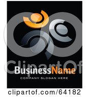 Royalty Free RF Clipart Illustration Of A Pre Made Logo Of Orange And Chrome People In A Circle Above Space For A Business Name And Company Slogan On Black