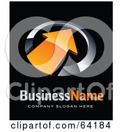 Pre Made Logo Of An Orange Pointing Arrow Above Space For A Business Name And Company Slogan On Black