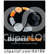 Pre Made Logo Of Gray And Orange People Holding Hands Above Space For A Business Name And Company Slogan On Black