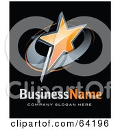 Royalty Free RF Clipart Illustration Of A Pre Made Logo Of An Orange Star Above Space For A Business Name And Company Slogan On Black by beboy