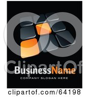 Pre Made Logo Of Orange And Black Tiles Above Space For A Business Name And Company Slogan On Black