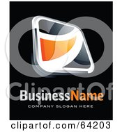 Pre Made Logo Of An Orange Square Swoosh Button Above Space For A Business Name And Company Slogan On Black