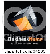 Pre Made Logo Of An Orange Cube Above Space For A Business Name And Company Slogan On Black