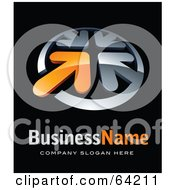 Royalty Free RF Clipart Illustration Of A Pre Made Logo Of Four Chrome And Orange Arrows Above Space For A Business Name And Company Slogan On Black by beboy