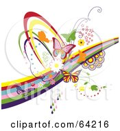 Royalty Free RF Clipart Illustration Of A Background Of Colorful Butterflies Circles Swooshes And Rainbows On White by Eugene #COLLC64216-0054