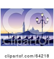Royalty Free RF Clipart Illustration Of A Row Of Gondolas Near A Street Light On A Venice Italy Morning by Eugene