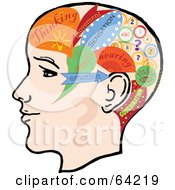 Royalty Free RF Clipart Illustration Of A Profile Of A Head With Divided Sections by Eugene #COLLC64219-0054
