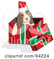 Royalty Free RF Clipart Illustration Of A Christmas Spaniel Puppy Emerging From A Gift Box