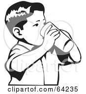 Royalty Free RF Clipart Illustration Of A Black And White Little Boy Drinking From A Cup by David Rey