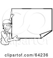 Royalty Free RF Clipart Illustration Of A Black And White Man Smiling And Displaying A Blank Publicity Poster