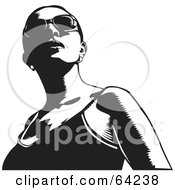 Royalty Free RF Clipart Illustration Of A Black And White Woman In A Tank Top And Shades Looking Up