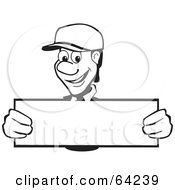 Royalty Free RF Clipart Illustration Of A Friendly Black And White Man Holding Up A Long Blank Sign by David Rey