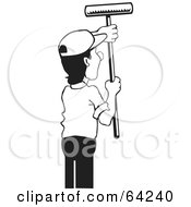Royalty Free RF Clipart Illustration Of A Black And White Male Painter Using A Roller Brush
