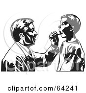 Royalty Free RF Clipart Illustration Of A Black And White Male Doctor Kneeling To Check A Boys Mouth by David Rey