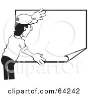 Royalty Free RF Clipart Illustration Of A Black And White Man Hanging Up A Blank Poster by David Rey