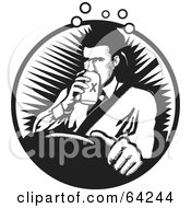Royalty Free RF Clipart Illustration Of A Black And White Drunk Driver Man Drinking A Beer by David Rey
