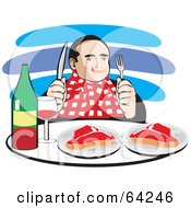 Royalty Free RF Clipart Illustration Of A Hungry Man Wearing A Bib Drinking Red Wine And Eating Steaks by David Rey