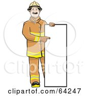Royalty Free RF Clipart Illustration Of A Friendly Fireman Standing And Pointing To A Blank Sign by David Rey