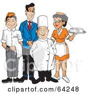 Happy Wait Staff Of Men And Women