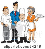 Royalty Free RF Clipart Illustration Of A Happy Wait Staff Of Men And Women