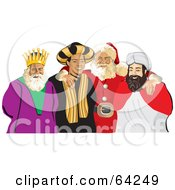 Royalty Free RF Clipart Illustration Of Santa Standing With His Arms Around The Three Wise Men by David Rey