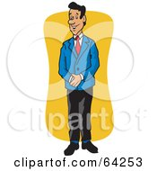 Royalty Free RF Clipart Illustration Of A Friendly Manager Man In A Blue Jacket by David Rey