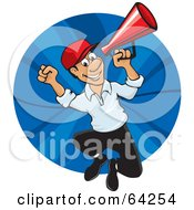 Royalty Free RF Clipart Illustration Of An Energetic Announcer Man Running With A Megaphone by David Rey