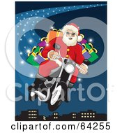 Royalty Free RF Clipart Illustration Of Santa Flying His Motorcycle Through The Blue Christmas Night Sky Above A City by David Rey